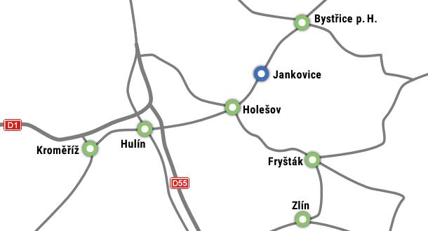 Mapa okolí Jnakovic