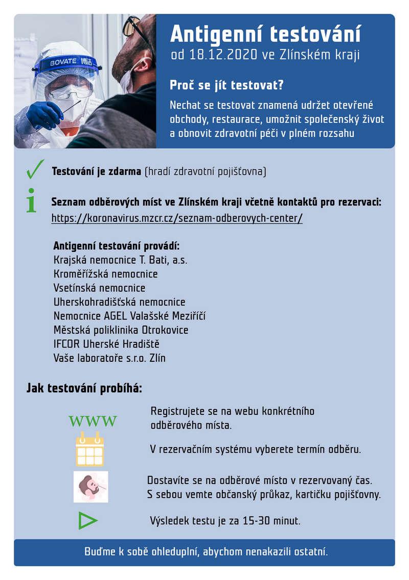 Plakát k testům na Covid-19